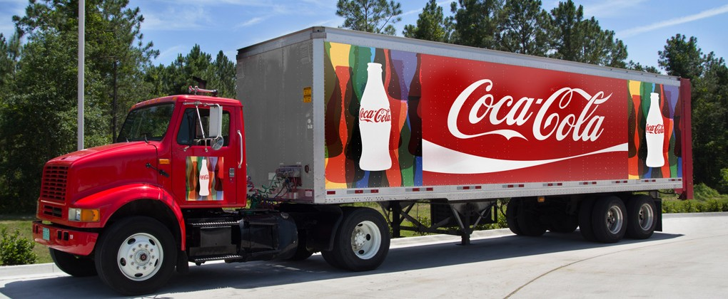 JACKSONVILLE, FL - MAY 20, 2014: A red Coca cola truck. The Coca